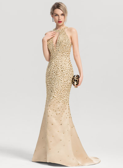Trumpet/Mermaid Scoop Neck Sweep Train Satin Prom Dresses With Beading Sequins