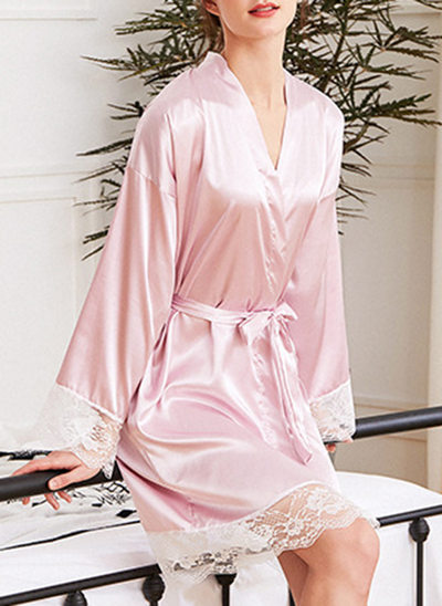 Charmeuse Bride Bridesmaid Junior Bridesmaid Blank Robes Lace Robes