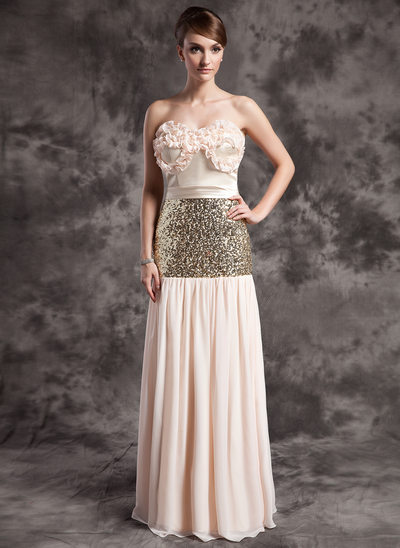 A-Line/Princess Strapless Floor-Length Chiffon Sequined Holiday Dress With Ruffle