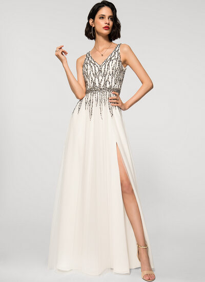 A-Line V-neck Floor-Length Tulle Evening Dress With Beading Split Front
