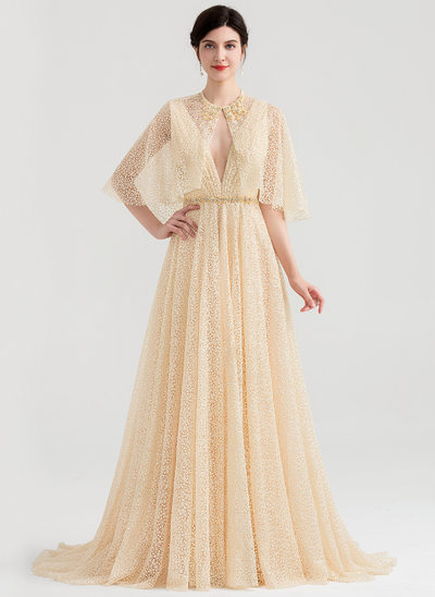 A-Line/Princess V-neck Sweep Train Lace Evening Dress With Beading