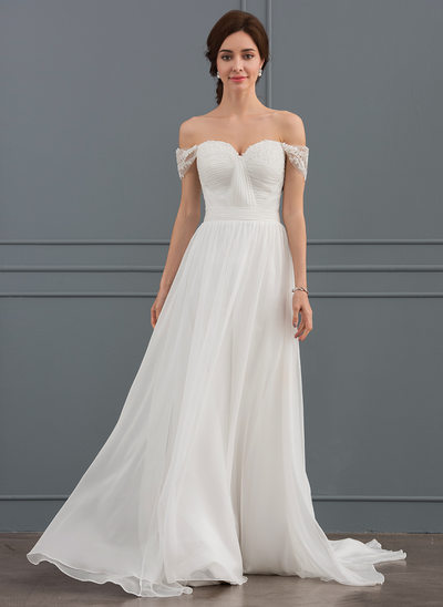 A-Line/Principessa Off-the-spalla Sweep/Spazzola treno Chiffona Pizzo Abiti da sposa con Increspature