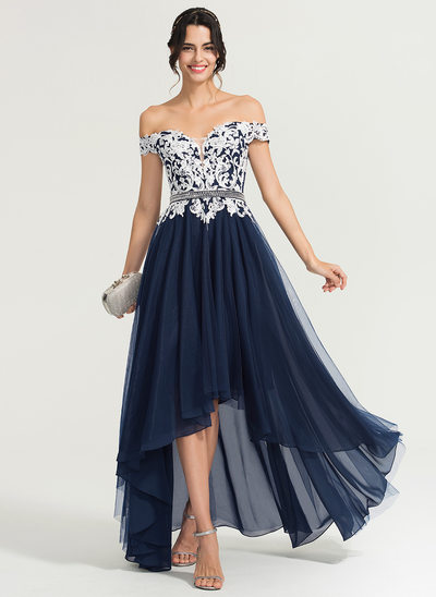 A-Line/Princess Off-the-Shoulder Asymmetrical Tulle Evening Dress With Beading Sequins