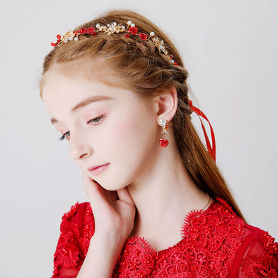 With Flower/Pearl Headbands/Earclip (Set of 2)