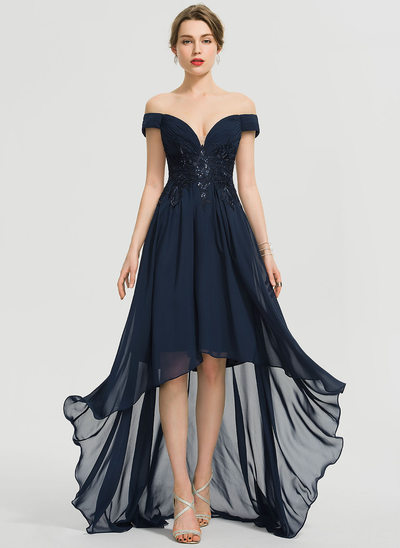 A-Line Off-the-Shoulder Asymmetrical Chiffon Prom Dresses