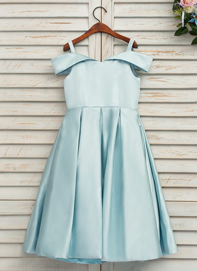 A-Line/Princess Tea-length Flower Girl Dress - Satin Sleeveless Off-the-Shoulder