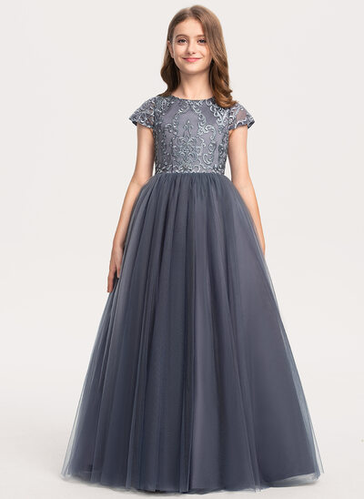 Ball-Gown/Princess Floor-length - Tulle/Lace Short Sleeves Scoop Neck