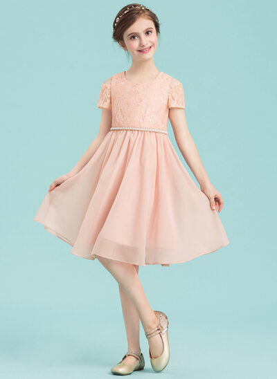 A-Line/Princess Scoop Neck Knee-Length Chiffon Junior Bridesmaid Dress With Beading