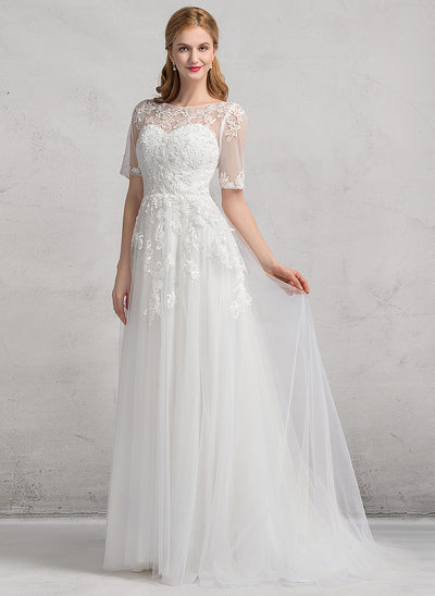 A-Line/Princess Scoop Neck Court Train Tulle Wedding Dress With Appliques Lace