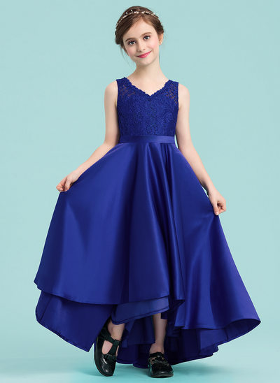 A-Line V-neck Asymmetrical Satin Junior Bridesmaid Dress With Sash