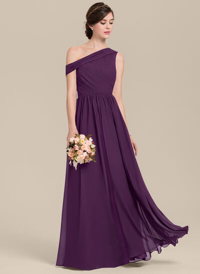 A-Line/Princess Off-the-Shoulder Floor-Length Chiffon Bridesmaid Dress With Ruffle