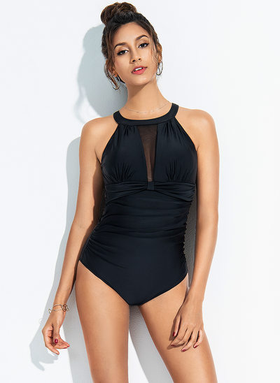 Sexy Solid Color Chinlon Spandex One-piece Swimsuit