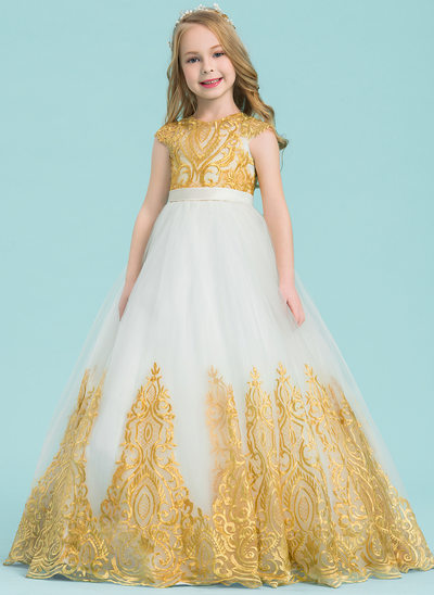 Ball Gown Floor-length Flower Girl Dress - Tulle/Lace Sleeveless Scoop Neck With Beading/Bow(s)