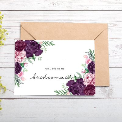 Bridesmaid Gifts - Classic Special Eye-catching Card Paper Wedding Day Card (Set of 4)