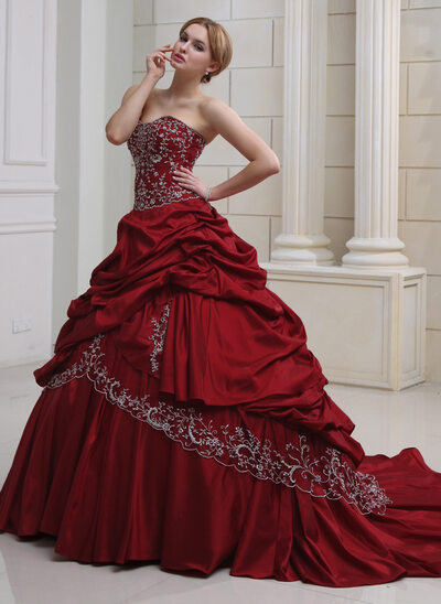 Ball-Gown Sweetheart Royal Train Taffeta Wedding Dress With Embroidered Ruffle Beading