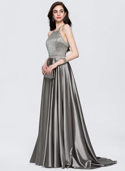 A-Line/Princess Scoop Neck Sweep Train Satin Prom Dress With Beading