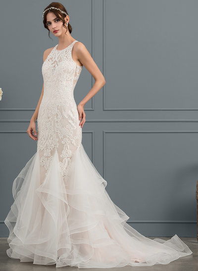 Trumpet/Mermaid Scoop Neck Court Train Tulle Wedding Dress With Beading Sequins