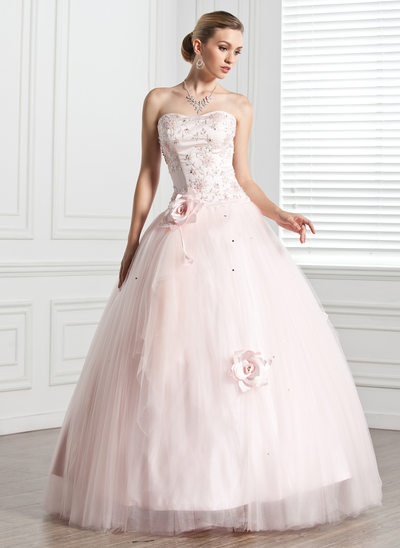 Ball-Gown Sweetheart Floor-Length Tulle Quinceanera Dress With Beading Flower(s)