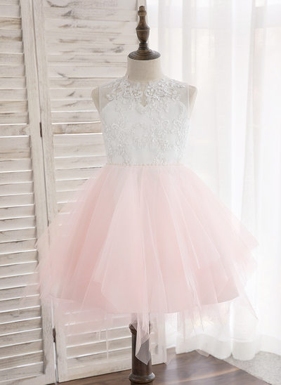 e9bc67fe6d0 A-Line Princess Knee-length Flower Girl Dress - Tulle Lace Sleeveless