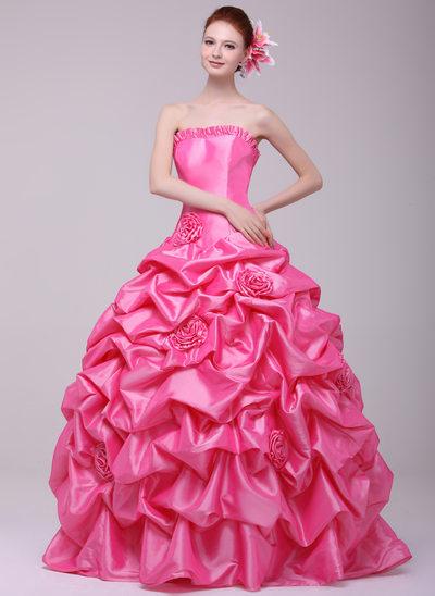 Ball-Gown Sweetheart Floor-Length Taffeta Prom Dress With Ruffle Flower(s)