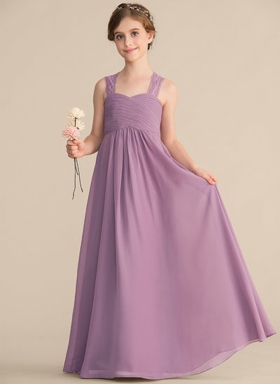A-Line/Princess Sweetheart Floor-Length Chiffon Lace Junior Bridesmaid Dress With Ruffle