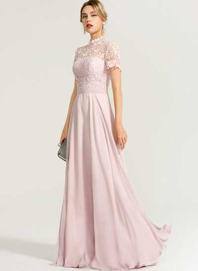 A-Linie High Neck Bodenlang Chiffon Abendkleid
