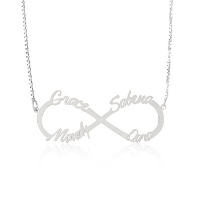 Custom Sterling Silver Signature Eternity Four Name Necklace Infinity Name Necklace - Birthday Gifts Mother's Day Gifts