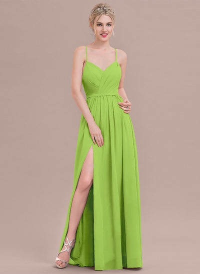 A-Line/Princess Sweetheart Floor-Length Chiffon Bridesmaid Dress With Ruffle Split Front