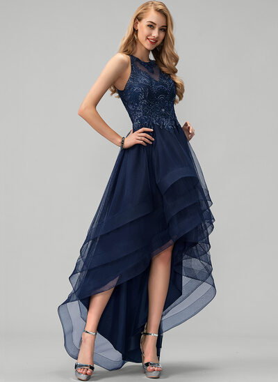 A-Line Scoop Neck Asymmetrical Tulle Evening Dress With Lace Beading Sequins