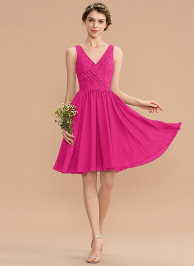 A-Line V-neck Knee-Length Chiffon Lace Bridesmaid Dress With Ruffle