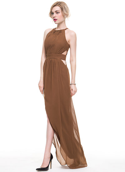 A-Line Scoop Neck Asymmetrical Chiffon Evening Dress With Ruffle