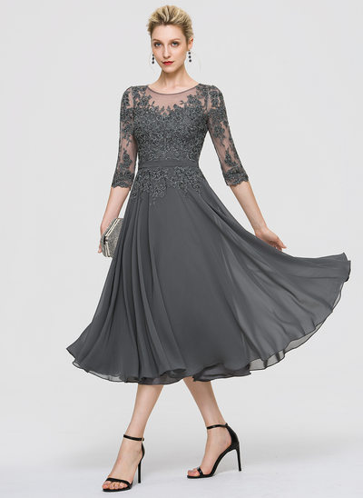 A-Line Scoop Neck Tea-Length Chiffon Evening Dress With Sequins