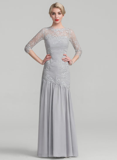 Trumpet/Mermaid Scoop Neck Floor-Length Chiffon Lace Mother of the Bride Dress With Ruffle