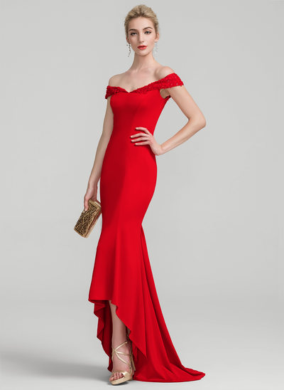 Trumpet/Mermaid Off-the-Shoulder Asymmetrical Jersey Prom Dress With Lace Beading Sequins