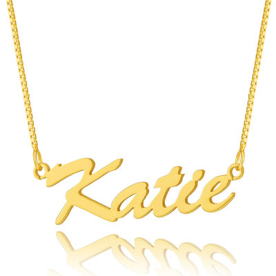 Custom 18k Gold Plated Silver Script Name Necklace -