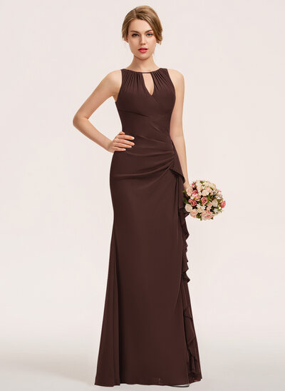 A-Line Scoop Neck Floor-Length Chiffon Bridesmaid Dress With Split Front Cascading Ruffles