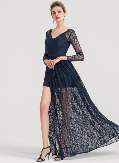 A-Line/Princess V-neck Sweep Train Lace Evening Dress With Split Front