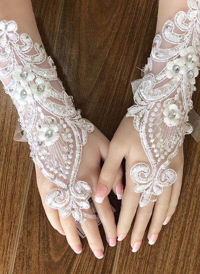 Lace Wrist Length Bridal Gloves With Embroidery/Lace Flower