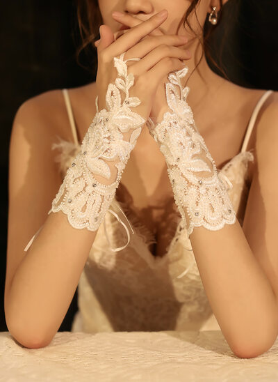 Tulle/Lace Wrist Length Bridal Gloves With Rhinestone