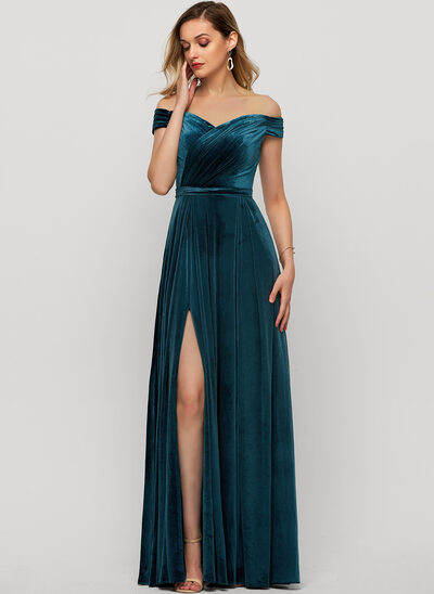 A-Line Off-the-Shoulder Floor-Length Velvet Evening Dress With Sequins Split Front
