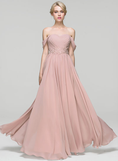 A-Line/Princess Off-the-Shoulder Floor-Length Chiffon Prom Dresses With Ruffle Lace Beading