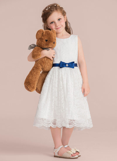 A-Line/Princess Knee-length Flower Girl Dress - Charmeuse/Lace Sleeveless Scoop Neck With Sash/Beading/Bow(s) (Detachable sash)