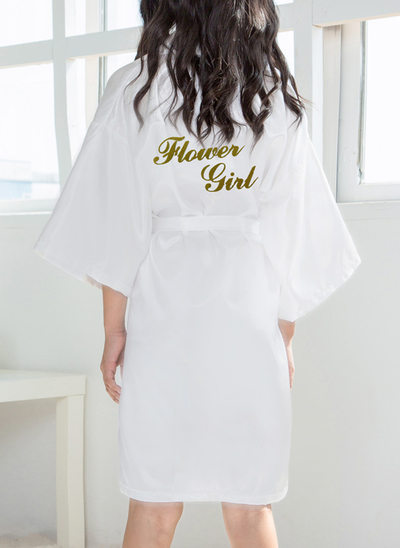 Non-personalized Polyester Flower Girl Glitter Print Robes
