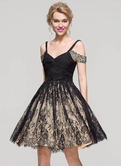 A-Line Off-the-Shoulder Knee-Length Lace Homecoming Dress With Ruffle Beading Sequins