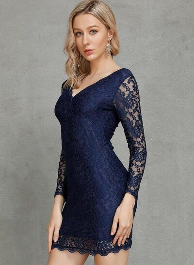 Sheath/Column V-neck Short/Mini Lace Cocktail Dress