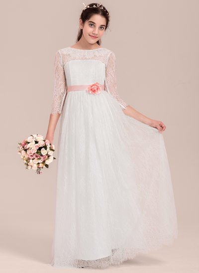 A-Line/Princess Scoop Neck Floor-Length Lace Junior Bridesmaid Dress With Flower(s)
