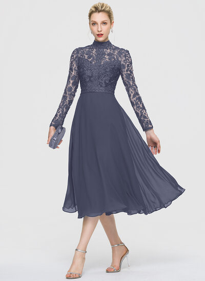 A-Line High Neck Tea-Length Chiffon Evening Dress
