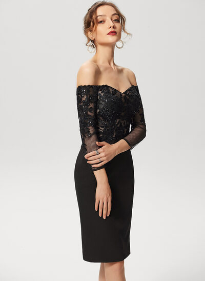 Linjeform Off-the-Shoulder Knelengde Blonder Strekk-crêpe Cocktailkjole med paljetter