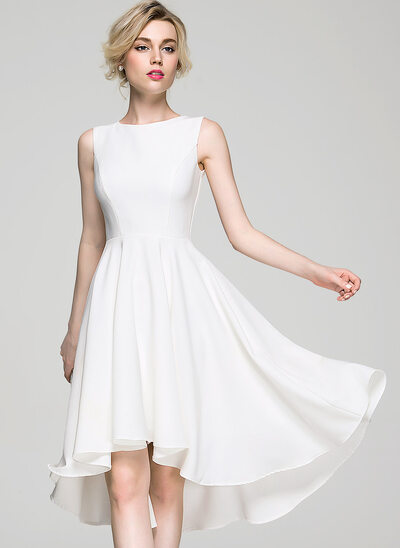 A-Line Scoop Neck Asymmetrical Stretch Crepe Cocktail Dress