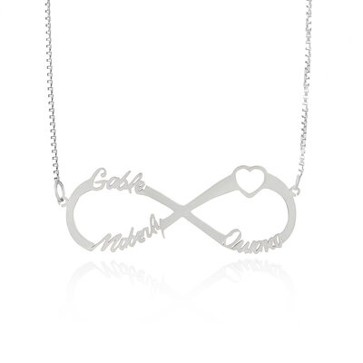 Custom Sterling Silver Hollow Carved Name Necklace Infinity Name Necklace With Heart - Birthday Gifts Mother's Day Gifts